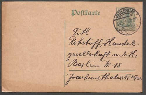 1º guerra alemania 1914 postkarte de karlsruhe a berlin -045