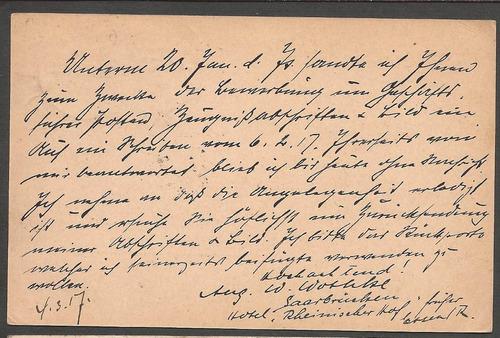 1º guerra alemania 1917 postkarte de saarbrucken a breslau