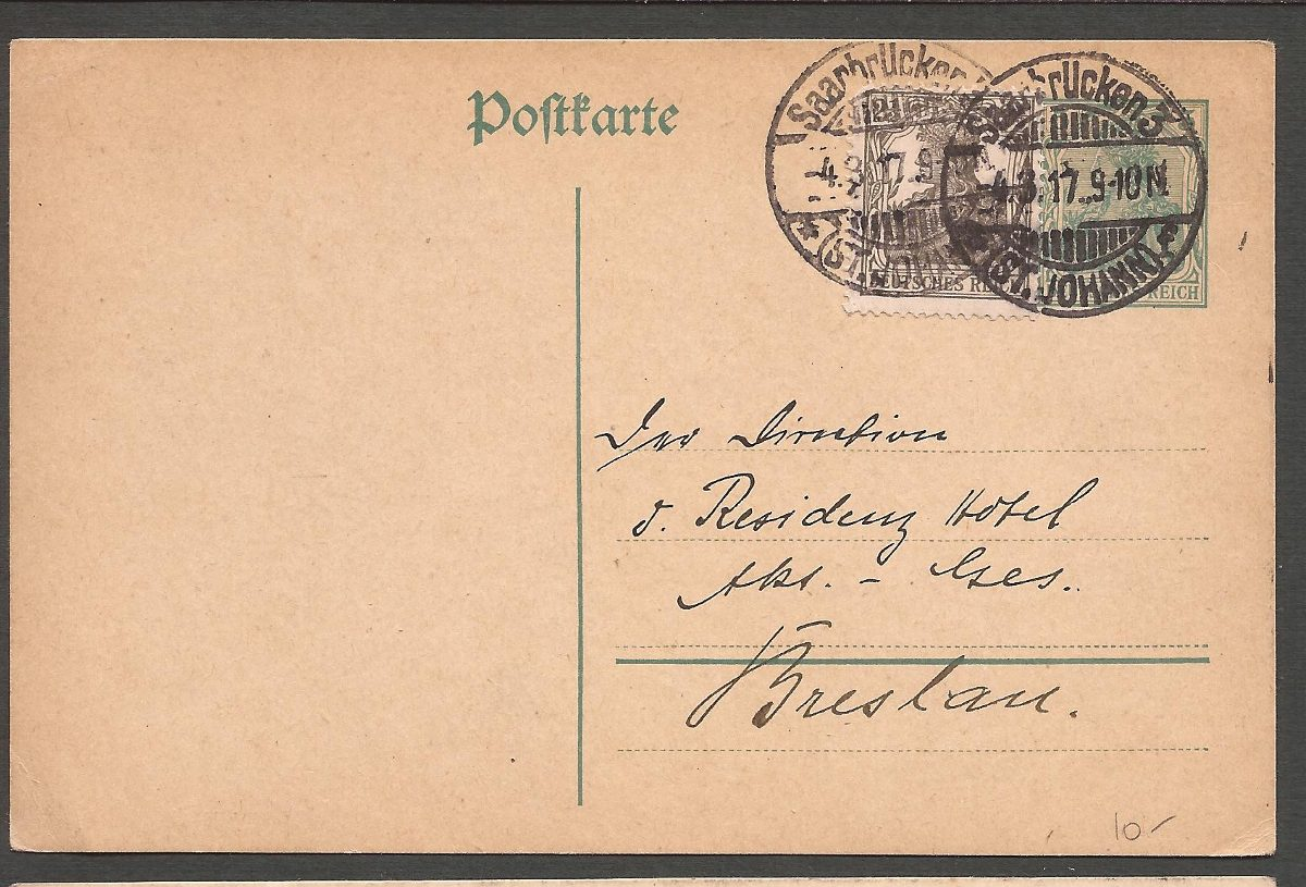 1º guerra alemania 1917 postkarte saarbrucken a breslau -044