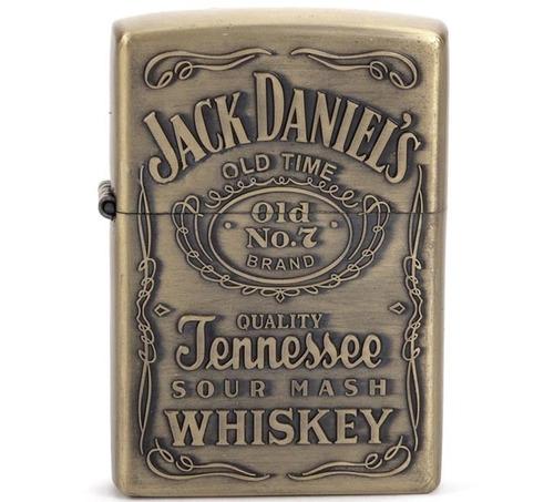 1 isqueiro tipo zippo metálico whisky jack daniels relevo