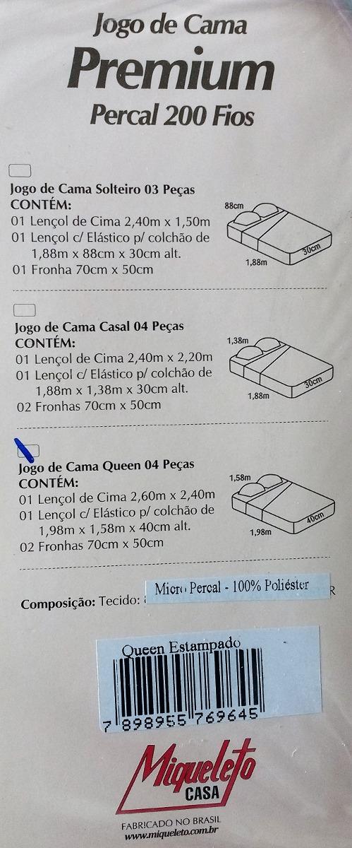 bcbcada233 1 jogo de lençol queen premium micro percal 200 fios 4 peças. Carregando  zoom.