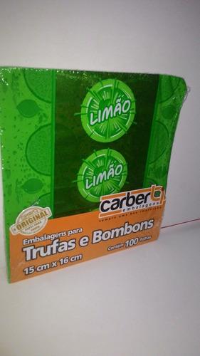 1 kit 100 embalagens carber p/ trufas e bombons sabor limão!