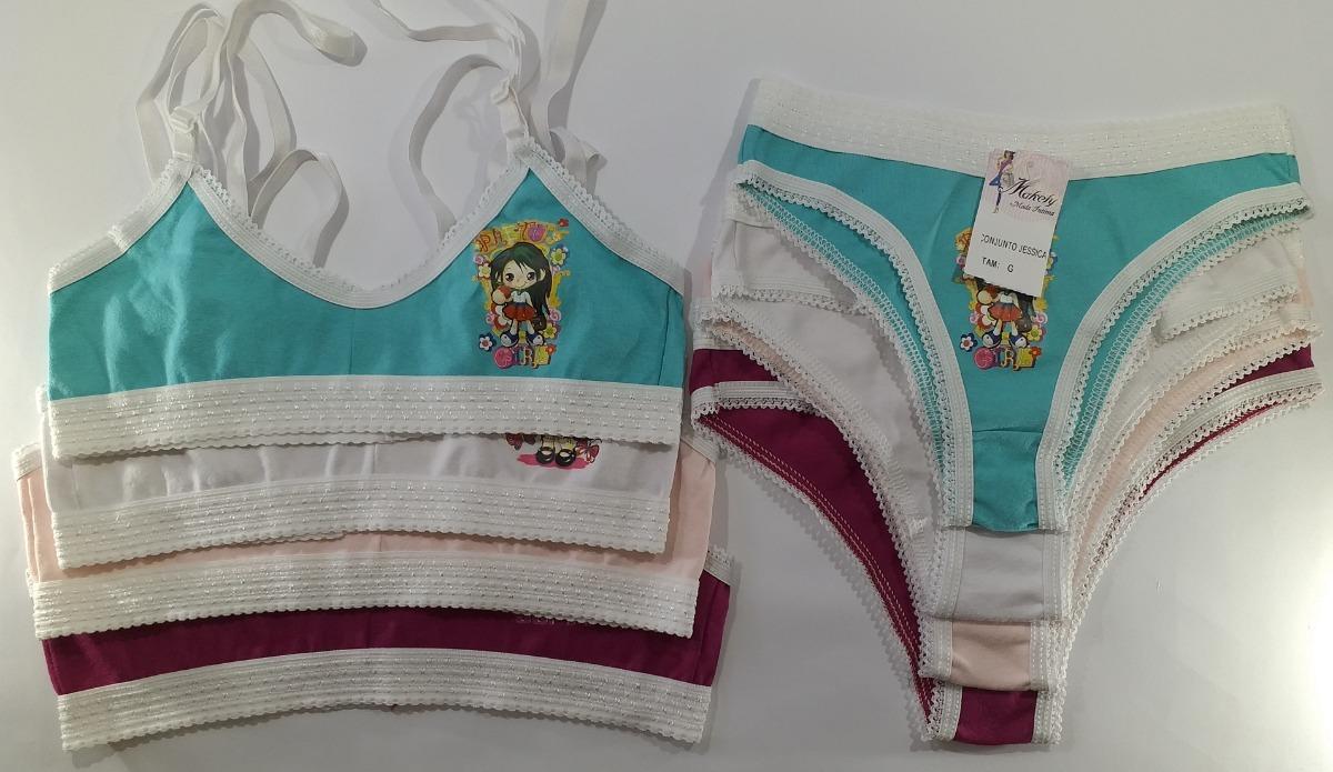 9705b4b11 1 Kit 3 Conj Infantil Jéssica Calcinha Sutiã Cotton. Tam. G - R  39 ...