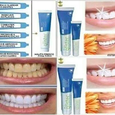 1 Kit 3 Creme Dental Glister Ajuda A Branquear Dentes 200 G R 89