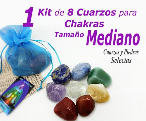 1 kit chakras mediano 8 piedras cuarzo natural