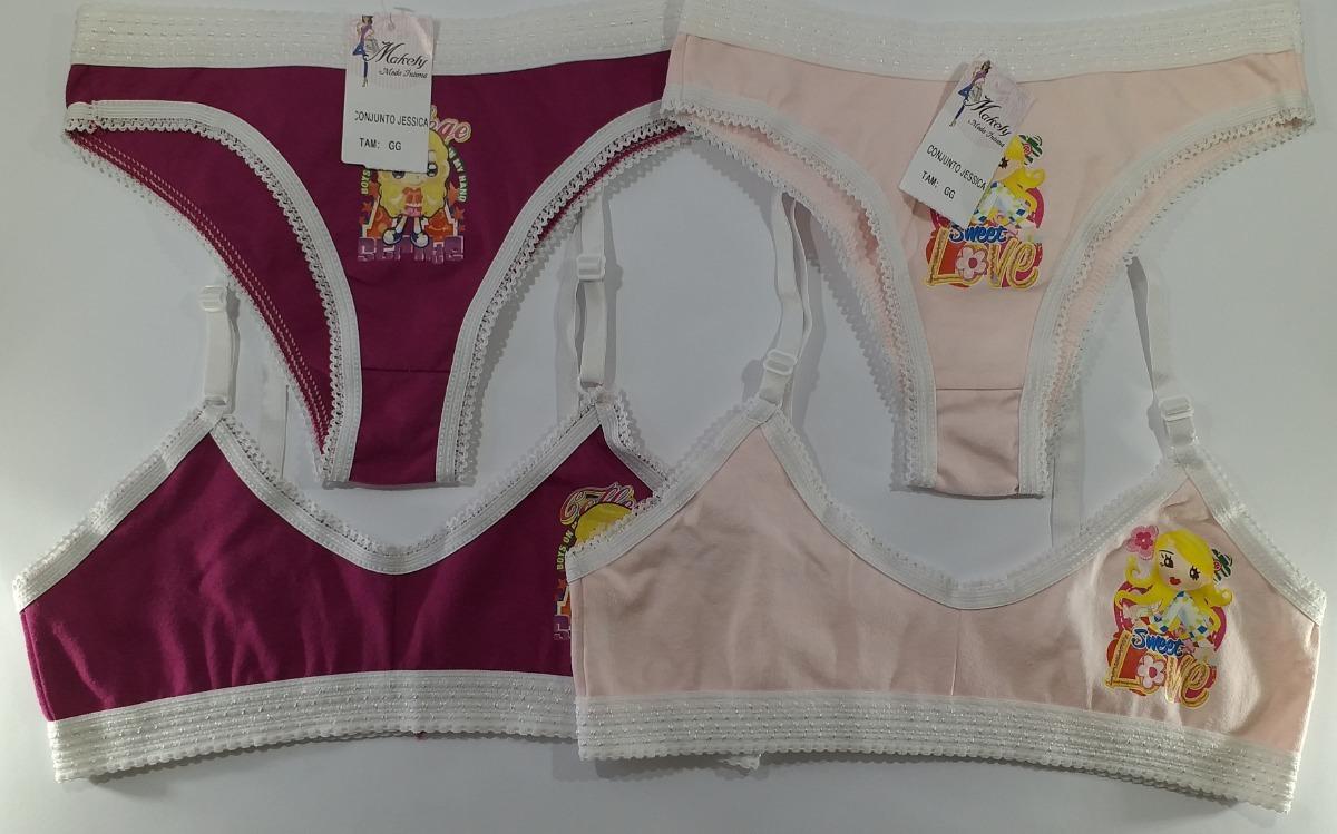 ff1872a48 1 Kit Conj. Infantil Jéssica Calcinha Sutiã Cotton. Tam. Gg - R  27 ...