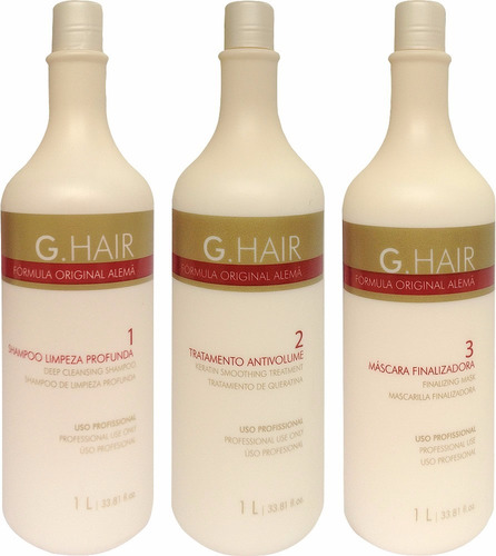 1 kit g hair escova progressiva (3 x 1 litro) + b-tox 1kg