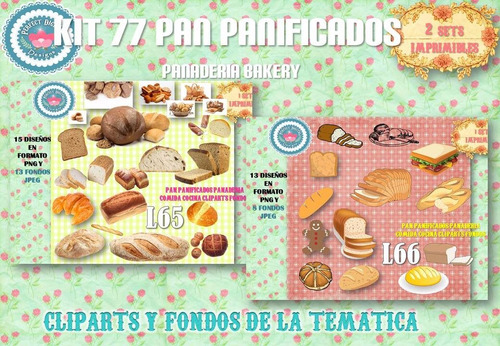 1 kit imprimible x 2 sets pan panificados p/ bolsitas termos