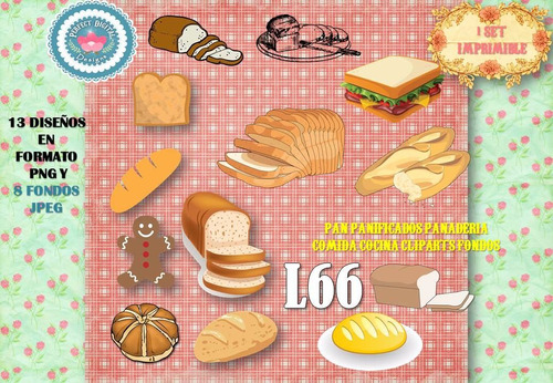 1 kit imprimible x 2 sets pan panificados p/stickers tarjeta