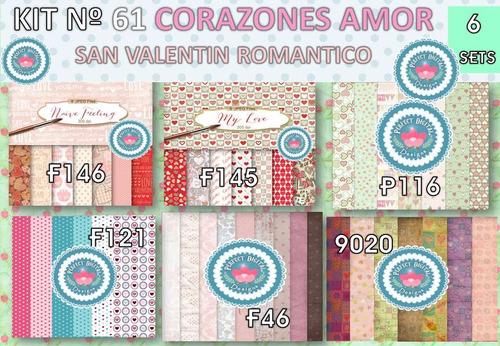 1 kit imprimible x 6 corazones san valentin p/ autoadhesivos