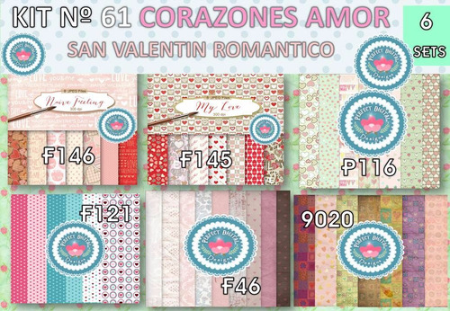 1 kit imprimible x 6 corazones san valentin p/ etiquetas tag