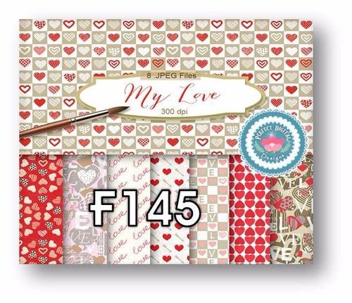 1 kit imprimible x 6 corazones san valentin p/ fondos scrap