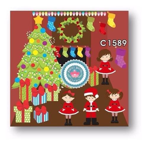 1 kit imprimible x 6 navidad cliparts nieve medias regalos