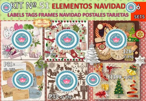 1 kit imprimible x 6 navidad vintage retro figuras siluetas