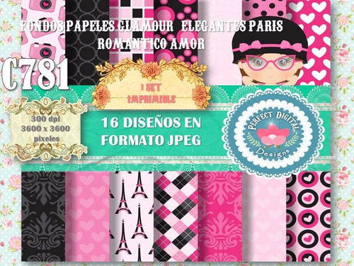 1 kit imprimible x 6 sets glamour paris amor romantico moda