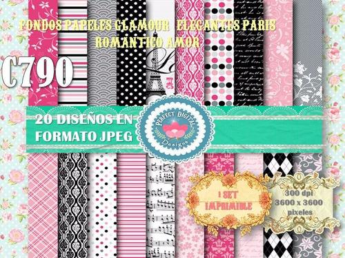 1 kit imprimible x 6 sets glamour paris fondos papeles digit