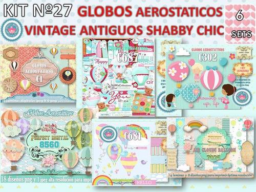 1 kit imprimible x 6 sets globos aerostaticos publicidad y+