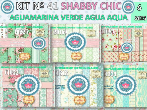 1 kit imprimible x 6 shabby chic aguamarina p/ fibrofacil ++