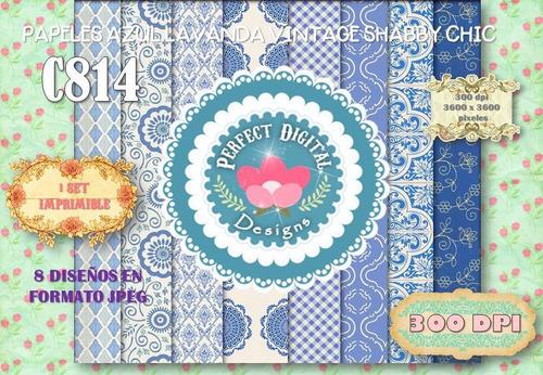 1 kit imprimible x 6 shabby chic azul p/ estampados ploteado