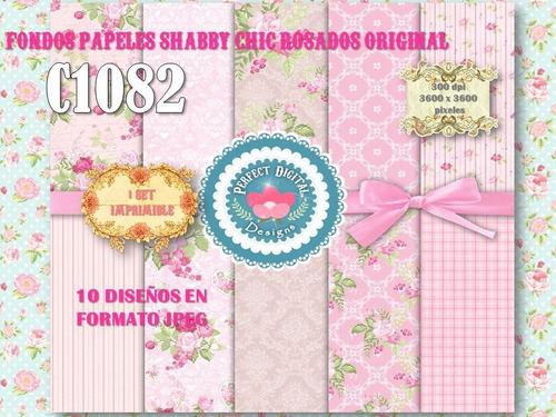 1 kit imprimible x 6 shabby chic rosados láminas digitales