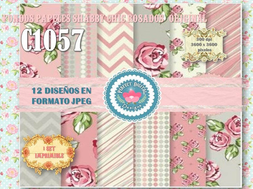 1 kit imprimible x 6 shabby chic rosados p/ baby shower tags