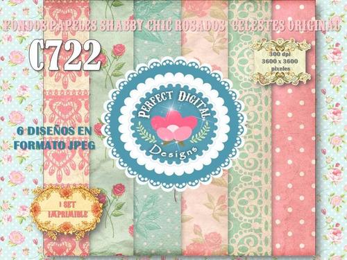 1 kit imprimible x 6 shabby chic rosados p/ deco cuartos 6x1