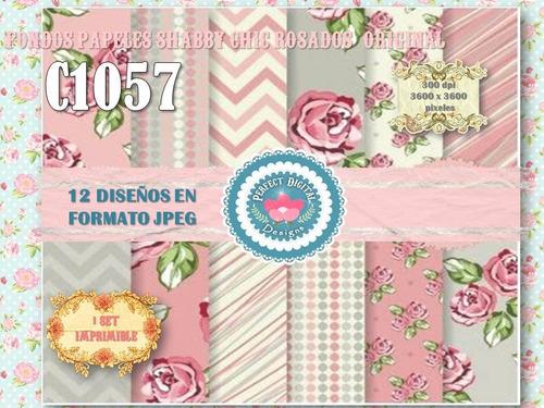 1 kit imprimible x 6 shabby chic rosados p/ invitaciones tag