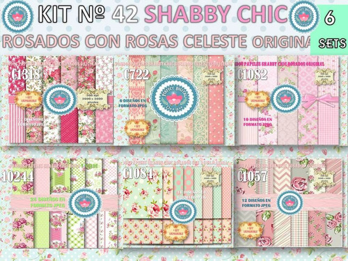 1 kit imprimible x 6 shabby chic rosados retro fondos scrap