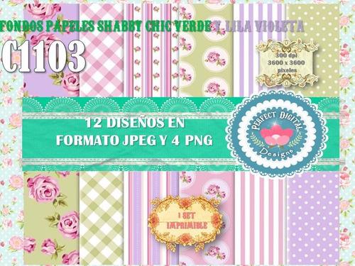 1 kit imprimible x 6 shabby chic verde c/rosado bordo lilas