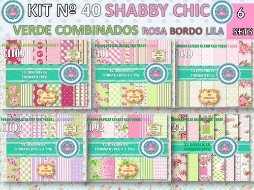 1 kit imprimible x 6 shabby chic verdes fondos digitales 1x6
