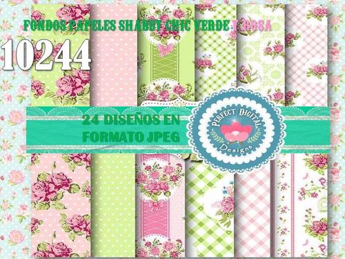 1 kit imprimible x 6 shabby chic verdes p/ cajitas bolsas +