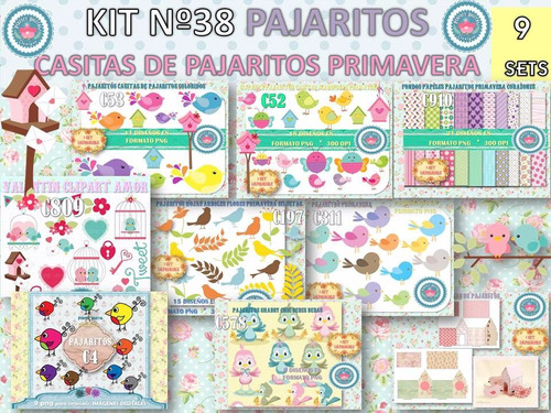 1 kit imprimible x 9 sets pajaritos c/molde plantilla casita