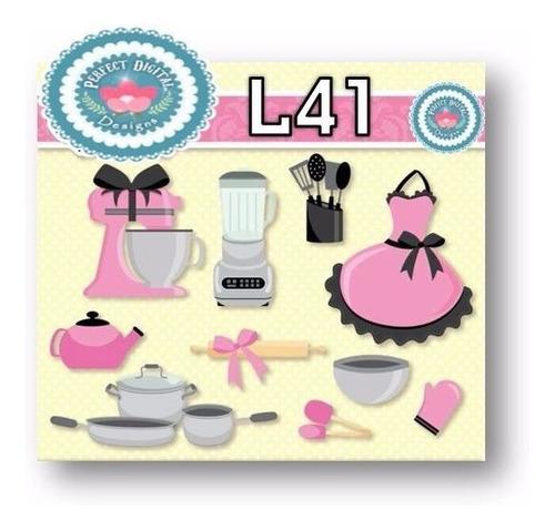 1 kit imprimible x6 cocina utensilios comidas cliparts fondo