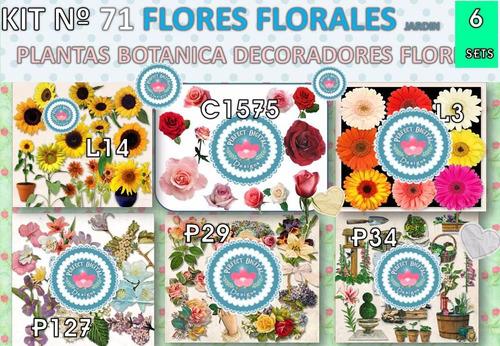 1 kit imprimible x6 collage flores florales p/ souvenirs y+
