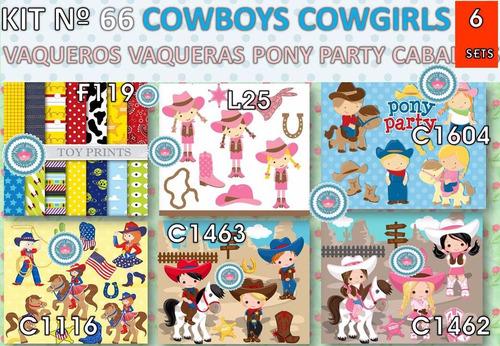 1 kit imprimible x6 cowboy cowgirl vaqueros p/ cumpleaños y+