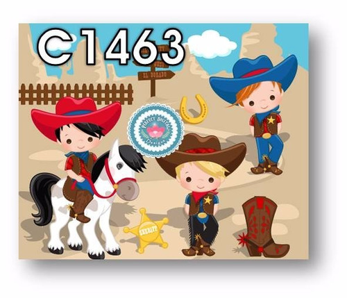 1 kit imprimible x6 cowboy cowgirl vaqueros p/ iman stickers