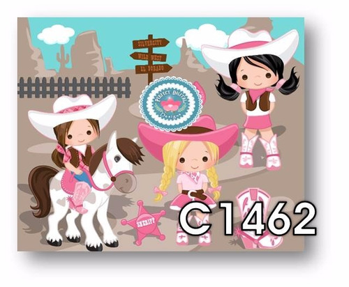 1 kit imprimible x6 cowboy cowgirl vaqueros viejo oeste tags