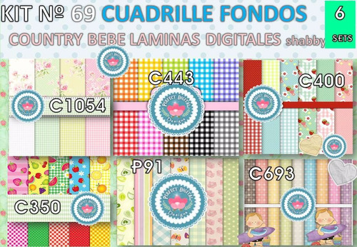 1 kit imprimible x6 cuadrille country puntitos frutales flor