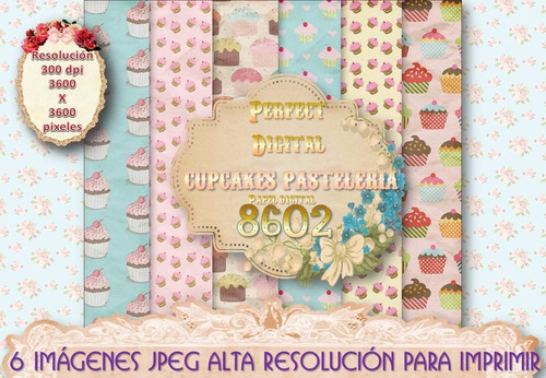 1 kit imprimible x6 cupcakes muffins laminas papel digitales