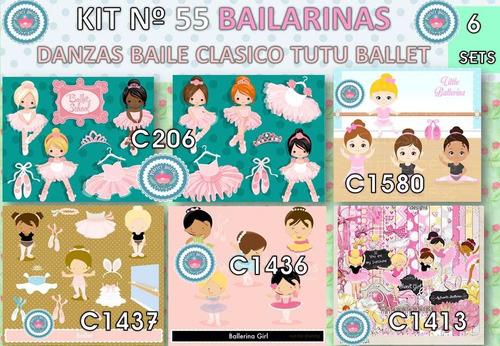 1 kit imprimible x6 danza baile ballet p/ tarjeta invitacion