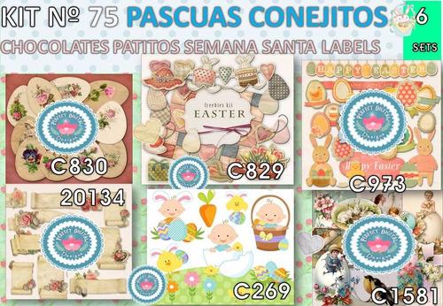 1 kit imprimible x6 pascuas conejos huevo servilletas labels
