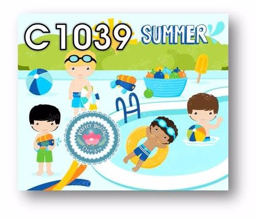 1 kit imprimible x6 verano playa olas pileta p/ souvenirs