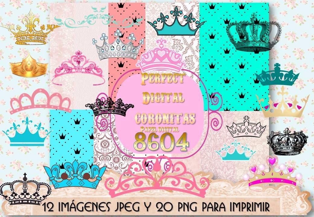 1 Kit Imprimible X7 Coronitas Coronas Princesa Decoupage Tag