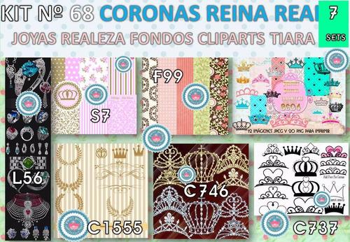 1 kit imprimible x7 coronitas coronas princesa p/cajas latas