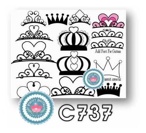 1 kit imprimible x7 coronitas coronas princesa reina clipart