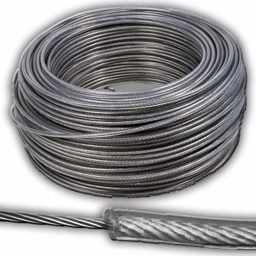1 m cable acero recubierto pvc tendedero tender colgar ropa - resistente intemperie - precio x metro