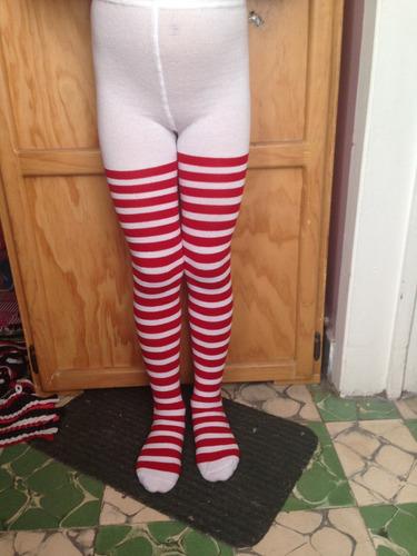 1 mallas rayada caramelo rojo con blanco niña varias tallas