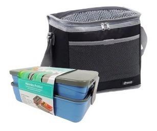 1 marmita azul c/ 2 compartimentos + bolsa térmica 10l