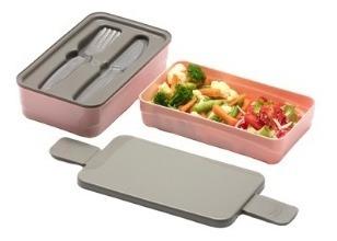 1 marmita rosa c/ 2 compartimentos + bolsa térmica 10l