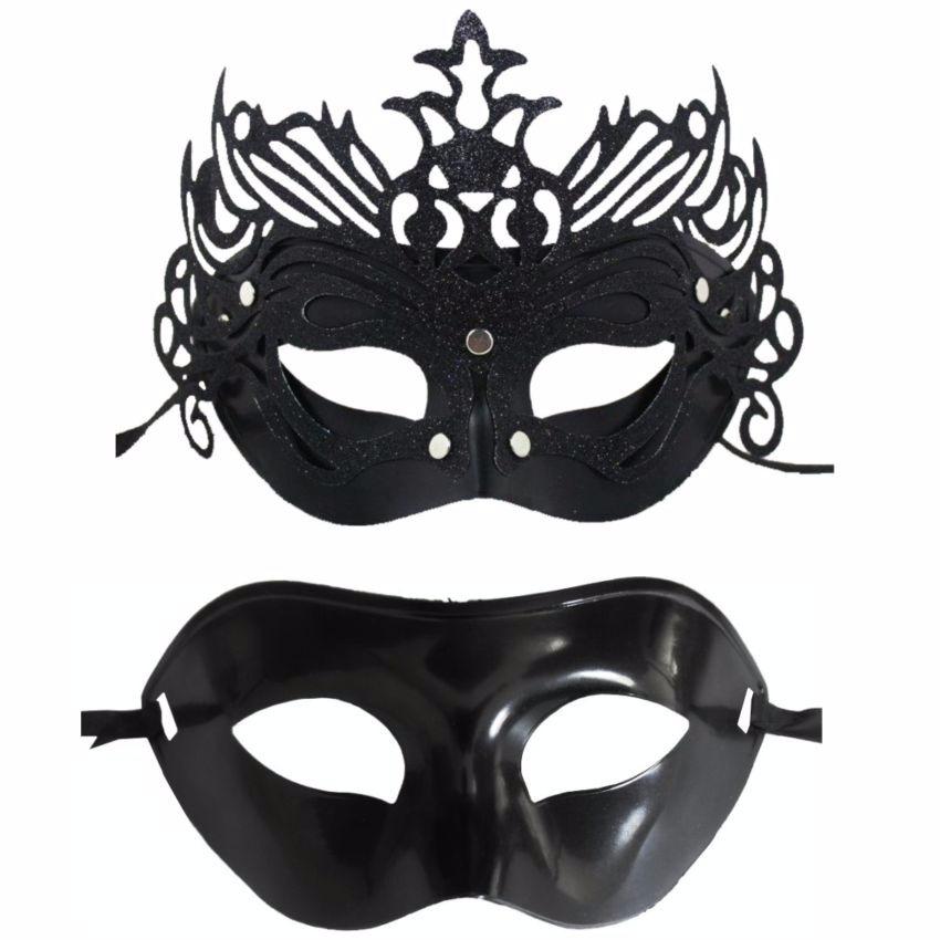 af16c872404283 1 Mascara Feminina E 1 Mascara Masculina Preta Festa Baile